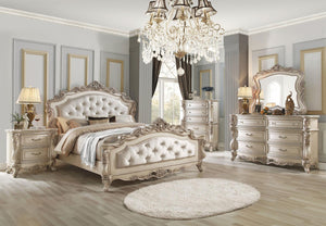 Acme 27440Q Gorsedd Cream Wood And Fabric Finish 4 Piece Queen Bedroom Set