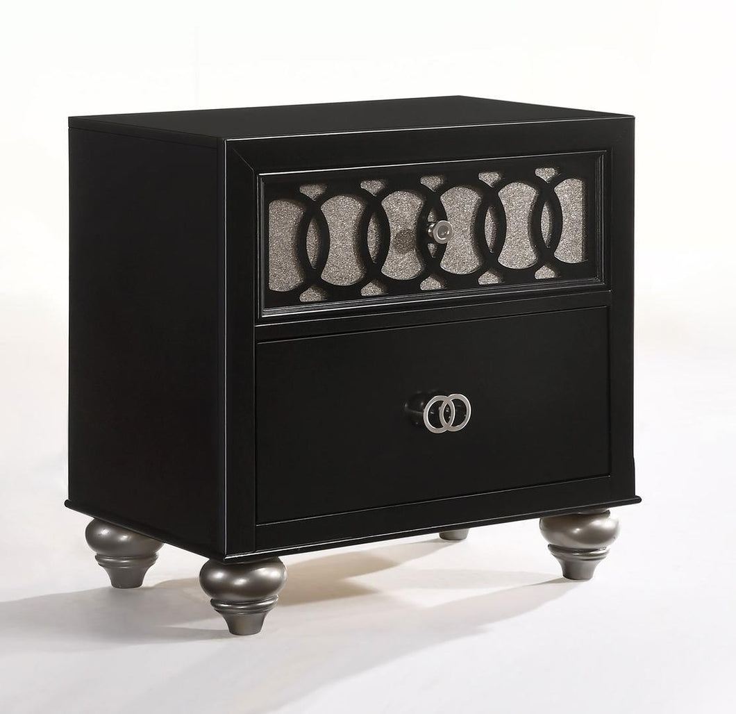 Acme 27073 Ulrik Black Wood Finish Transitional Nightstand