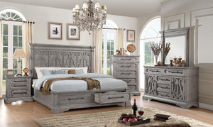 Acme 27097EK Artesia Natural Wood Finish 4 Piece Eastern King Bedroom Set