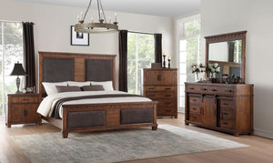 Acme 27160Q Vibia Brown And Cherry Wood Finish 4 Piece Queen Bedroom Set