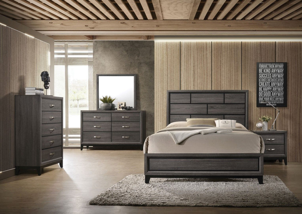 Acme 27047EK Valdemar Gray Wood Finish 4 Piece Eastern King Bedroom Set