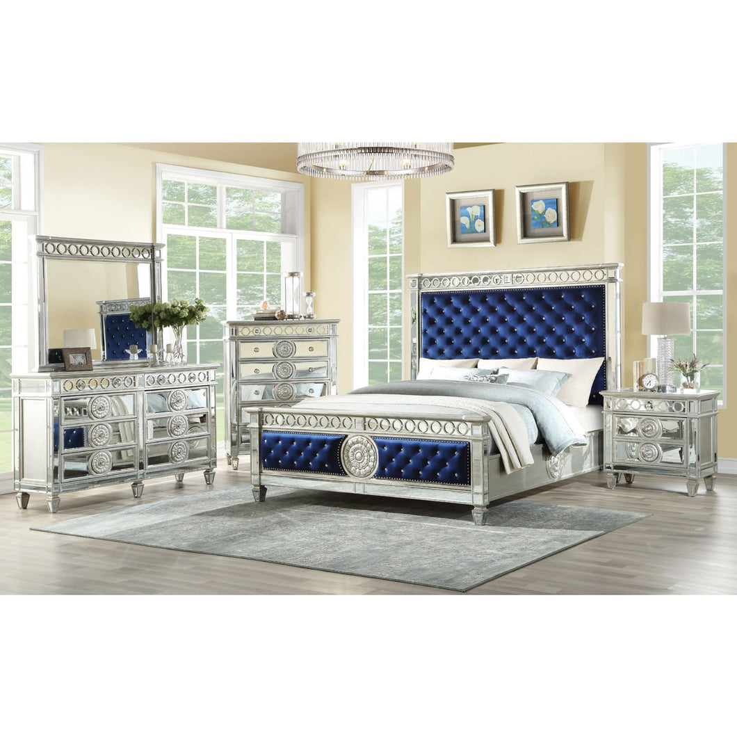 Acme 26150Q Varian Blue Mirrored Finish 4 Piece Queen Bedroom Set