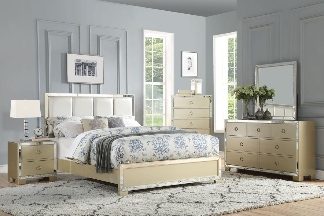 Acme 27127EK Voeville II Champagne Wood 4 Piece Eastern King Bedroom Set