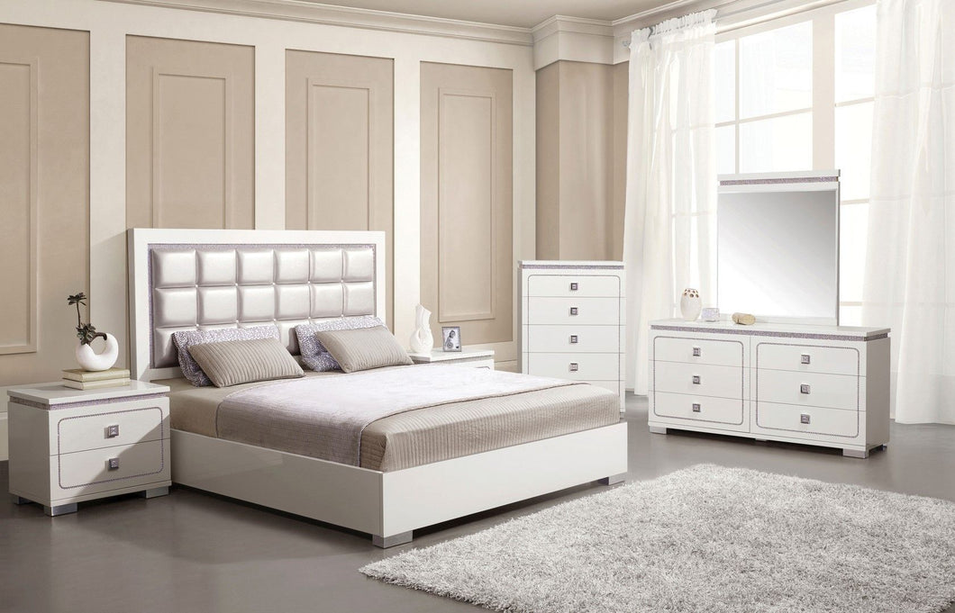 Acme 20250Q Valentina Pearl PU Leather Finish 4 Piece Queen Bedroom Set