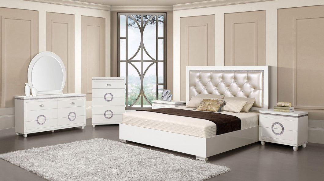 Acme 20237EK Vivaldi White PU Leather 4 Piece Eastern King Bedroom Set