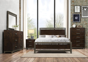 Acme 26680Q Charleen Walnut Wood Finish 4 Piece Queen Bedroom Set