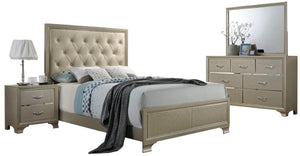 Acme Carine Champagne PU Leather Finish 4 Piece Eastern King Bedroom Set