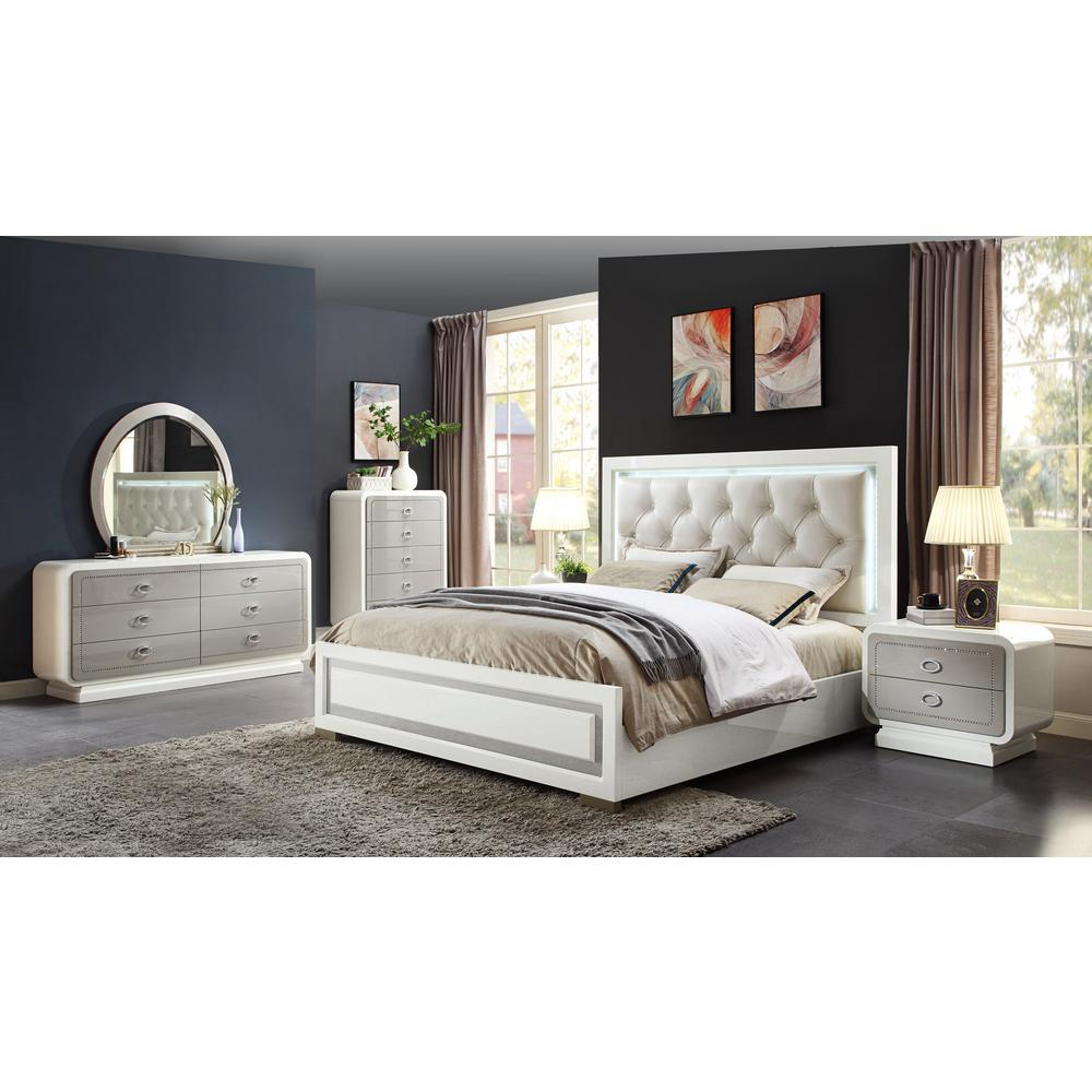 Acme Allendale Ivory Wood LED Finish 4 Piece Queen Bedroom Set