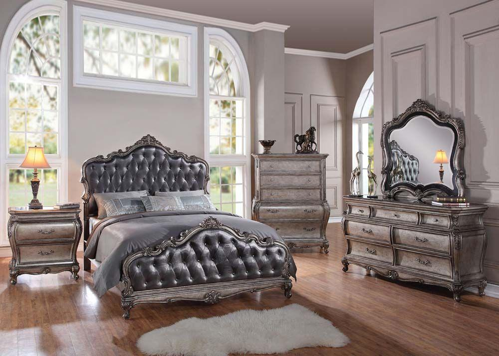 Acme 20537EK Chantelle 4 Pieces Antique Platinum King Sleigh Bedroom Set