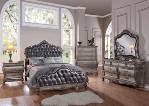 Acme Chantelle Antique Platinum Queen Sleigh Bedroom Set