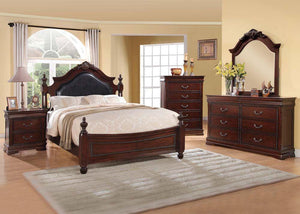 Acme Gwyneth Cherry Finish Queen Poster Bedroom Set