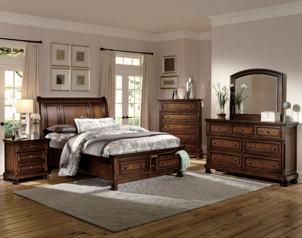 2159-1 Classic 4P Medium Brown Wood Queen Sleigh Platform Bedroom Set