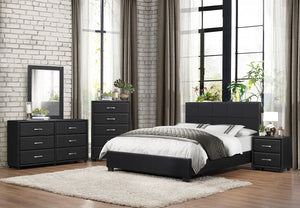 2220F-1 Lorenzi 4PCs Modern Black Vinyl Kids Full Platform Bedroom Set