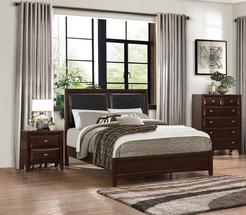 1908K-1EK Summerlin Classic Espresso Wood  Black Vinyl Padded King Bed