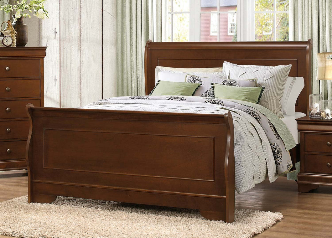 1856-1 Traditional Louis Philippe Brown Cherry Wood Queen Sleigh Bed