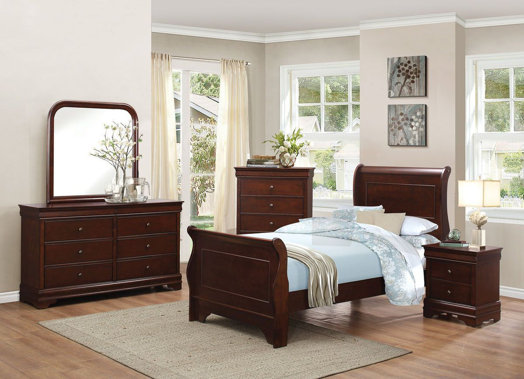 1856F-1 Louis Philippe 4PCs Brown Cherry Wood Full Sleigh Bedroom Set