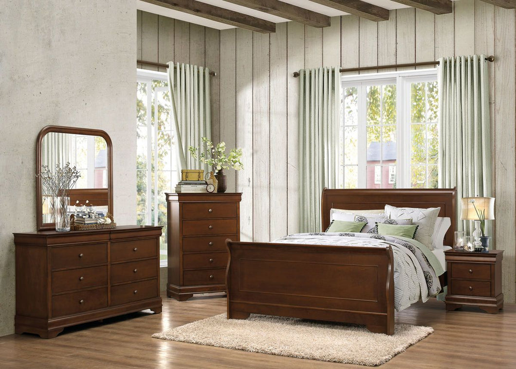 Abbeville Louis Philippe 4PCs Brown Cherry Cal King Sleigh Bedroom Set