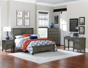 2046K-1EK Garcia 4PCs Louvered Panel Cool Gray Wood King Bedroom Set