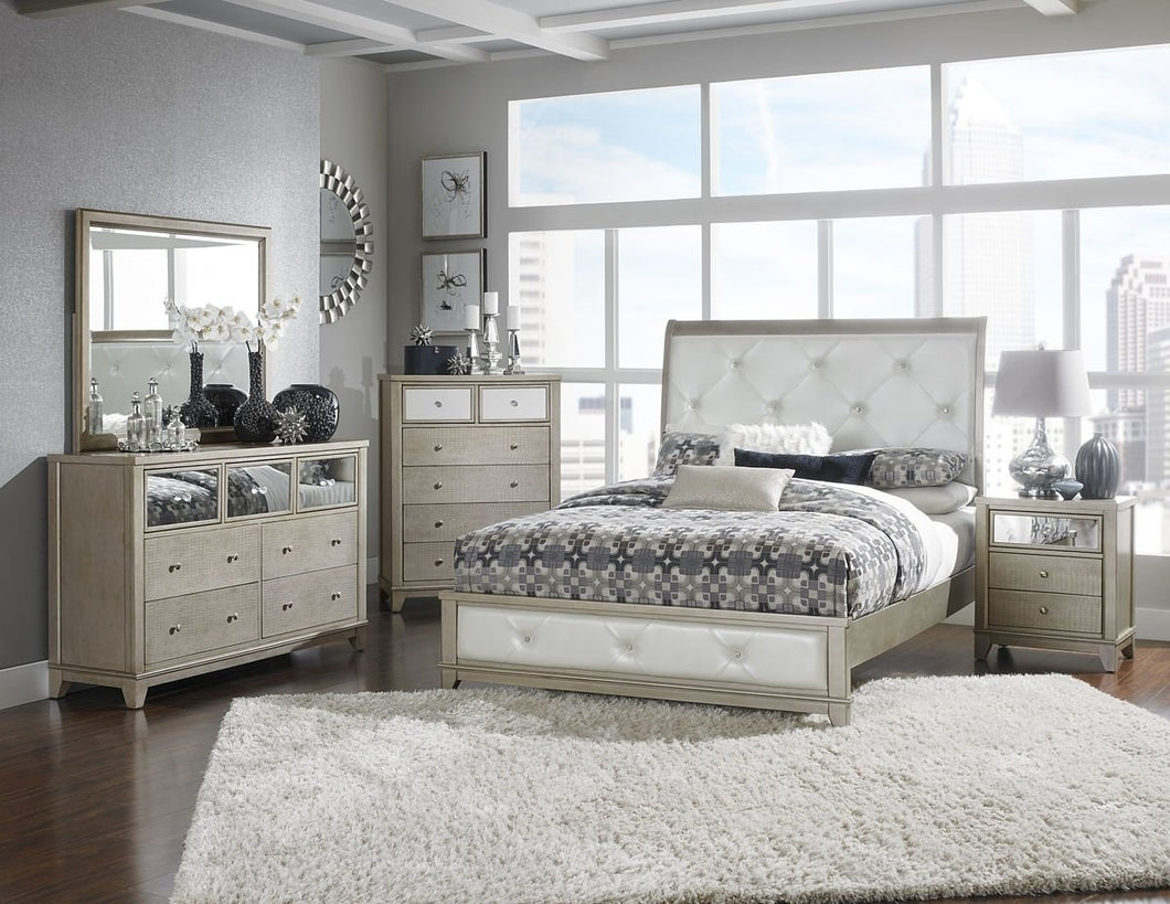 1708K-1CK Odelia 4Pcs Tuft Pearl White Vinyl California King Bedroom Set