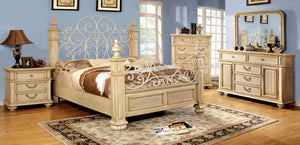 4 Pieces Antique White Eastern King Bedroom Set