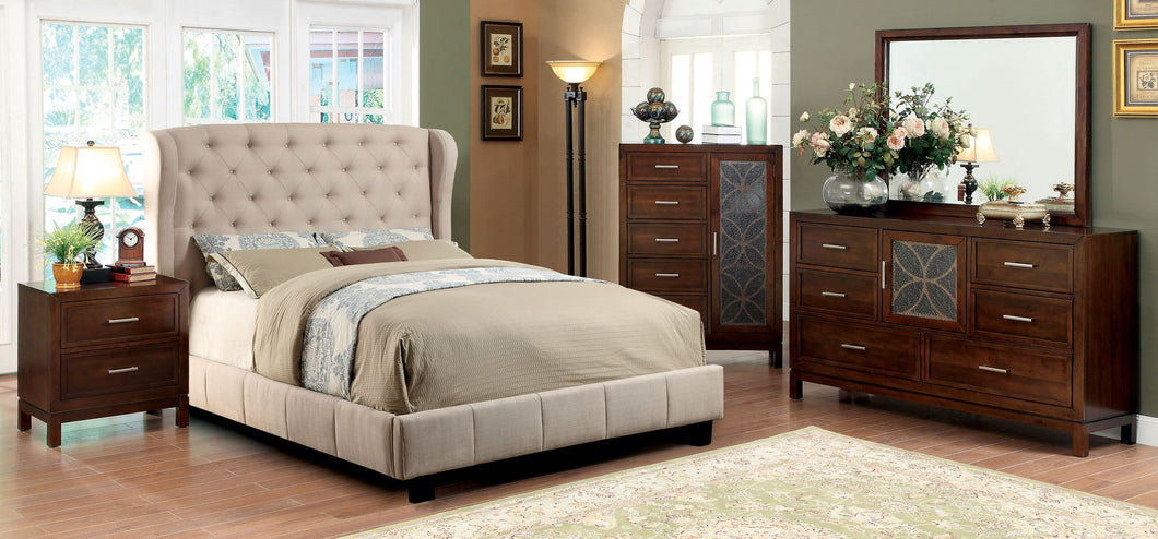 4Pcs Ivory Padded Flax Fabric California King Bedroom Set