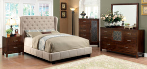 4Pcs Ivory Padded Flax Fabric Eastern King Bedroom Set
