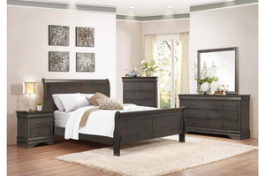 2147FSG-1 4P Louis Phillippe Grey Wood Kid Full Sleigh Bed Bedroom Set