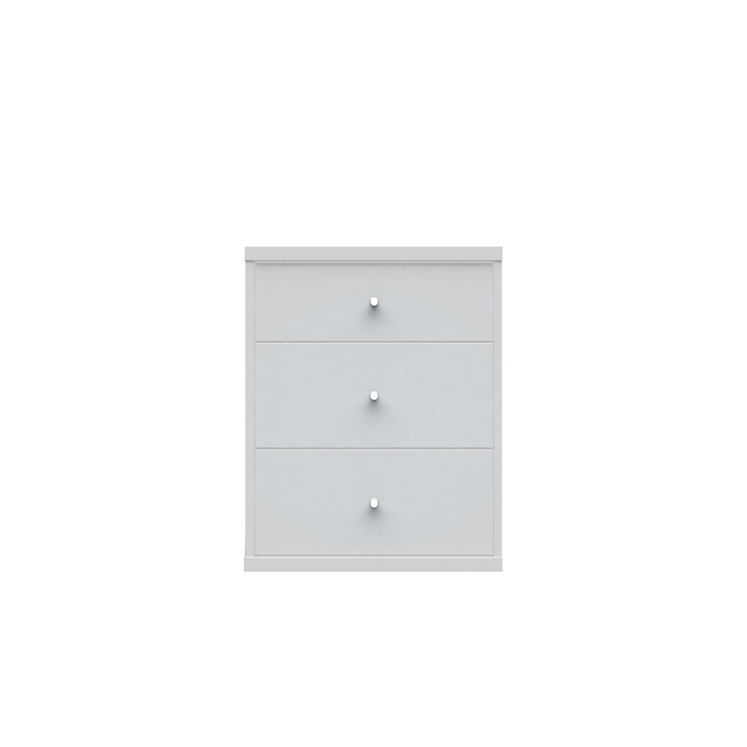2.0 Modern Night stand with 3- Drawers in White
