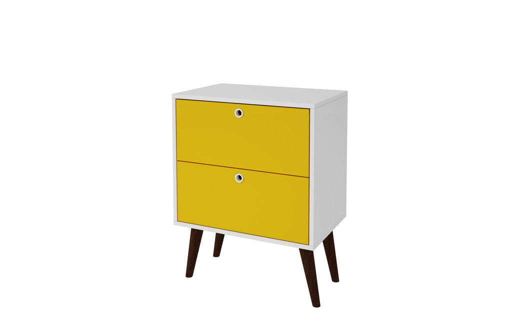 2- Drawer Nightstand in Yellow and White