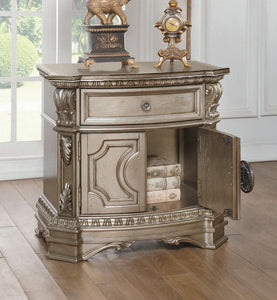 "Northville Collection 26934 30"" Nightstand with 1 Drawer, 2 Doors, Marble Top, Oversized Acanthus Leaves, Silver Grey Metal Hardware, Poly Resin Carved Molding Trim and Wood Veneer Materials in Antique Champagne Finish"