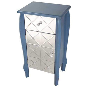 1-Drawer, 1-Door Mirrored Front Accent Cabinet - Mdf, Wood Mirrored Glass In Blue