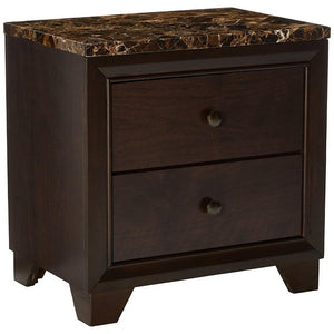 2 Drawer Wooden Nightstand with Faux Marble Top, Cappuccino Brown
