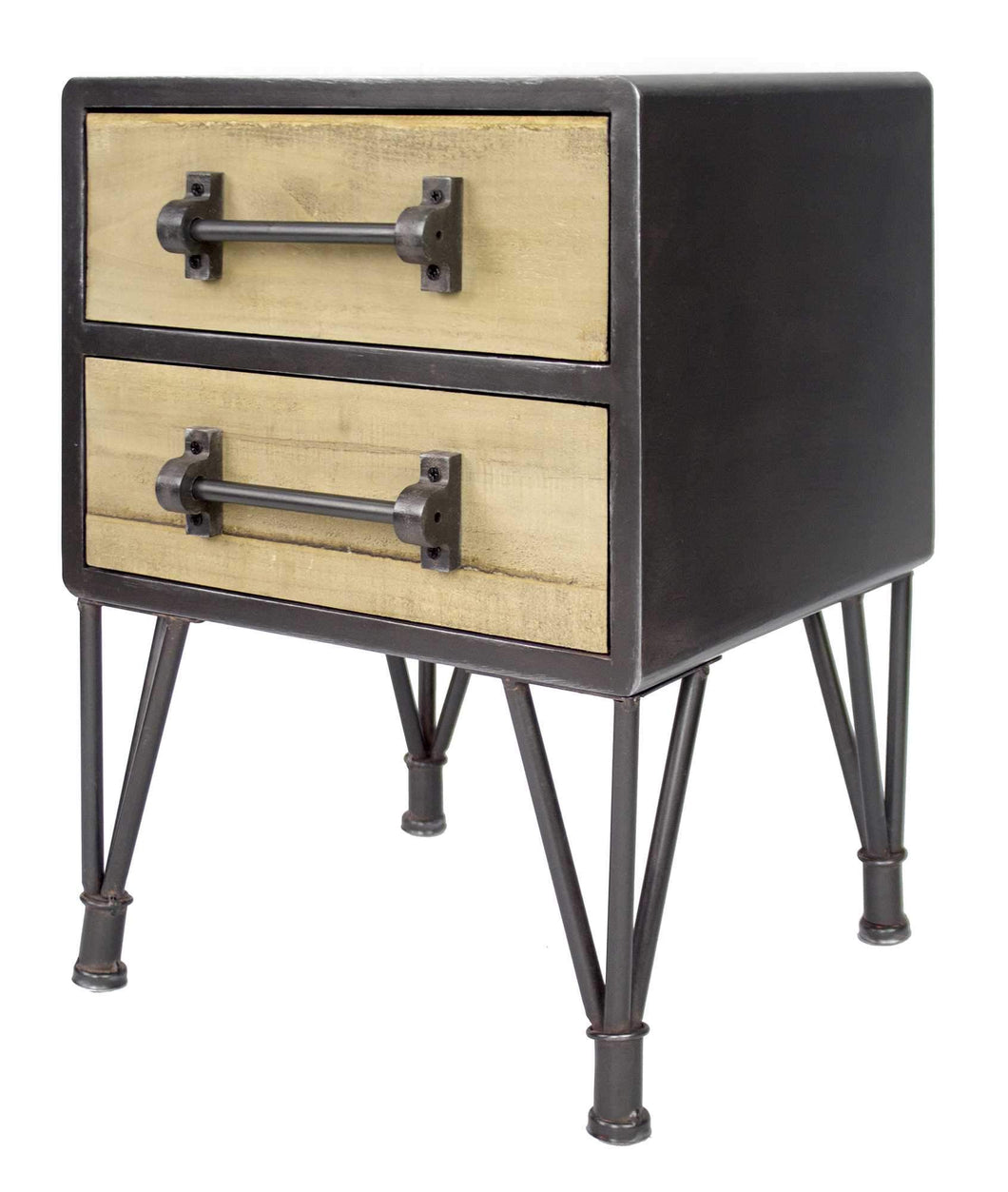 2-Drawer End Table/Nightstand - Charcoal And Natural Wood