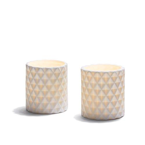 2 White Flameless Pillar Candles, Warm White Leds, Diamond Ceramic Vessel, Poured Wax Interior, Timer Option And Batteries Included