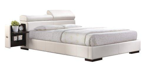 ACME Manjot White Faux Leather Queen Bed
