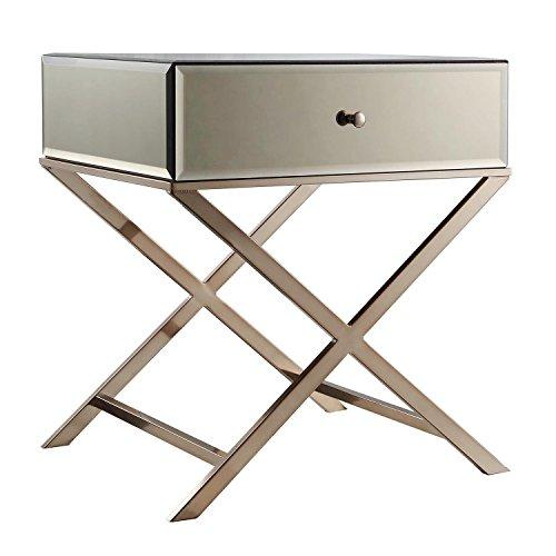 Contemporary Glass Mirror Accent Nightstand End Table with 1 Drawer and X Metal Legs (Champagne Gold)