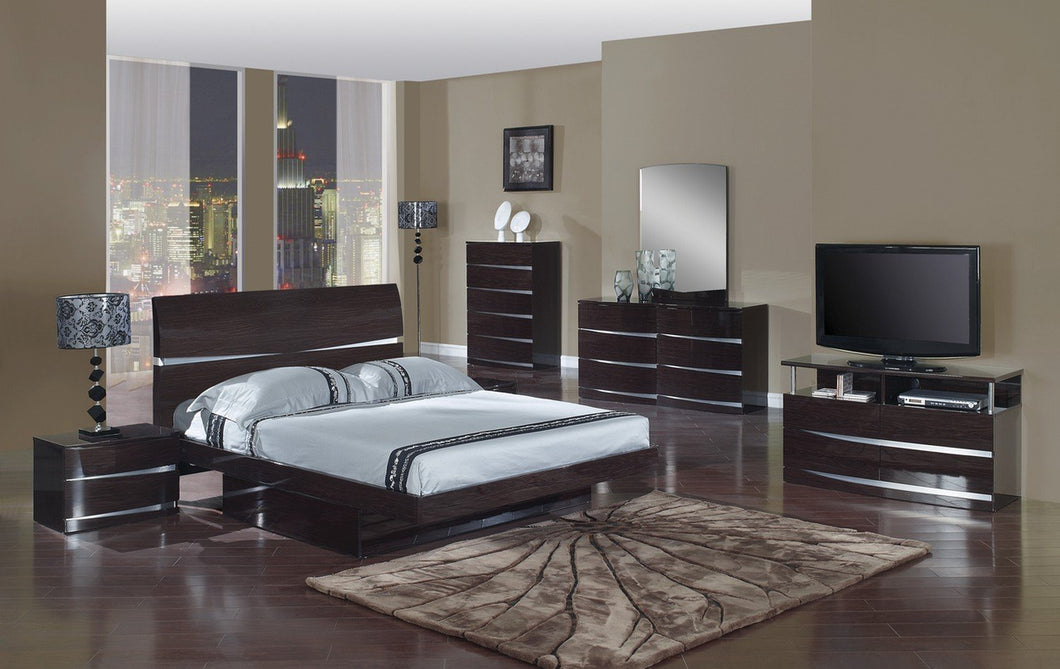 4pc California King Modern Wenge High Gloss Bedroom Set