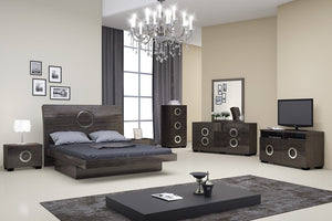 4pc Eastern King Modern Gray High Gloss Bedroom Set