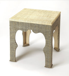 Haverford Houndstooth Raffia End Table