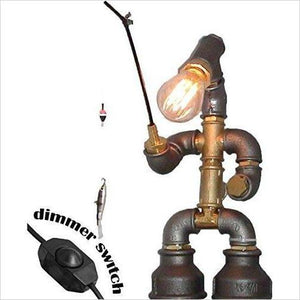 Steampunk Pipe Fisherman Table Lamp