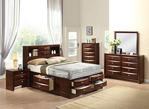 acme Furniture 21600Q Ireland Bed with Storage, Queen, Espresso