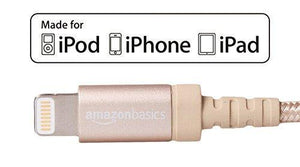AmazonBasics Apple Certified Nylon Braided Lightning to USB Cable - 1.8 m (6 ft) - Rose Gold