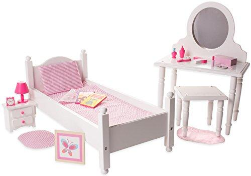 18 Inch Doll Furniture Bed and Vanity Set w/ Accessories - Playtime by Eimmie Collection