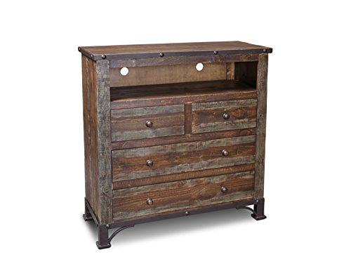 Crafters and Weavers Logan Boulevard Rustic Industrial Solid Wood Media Chest/TV Stand