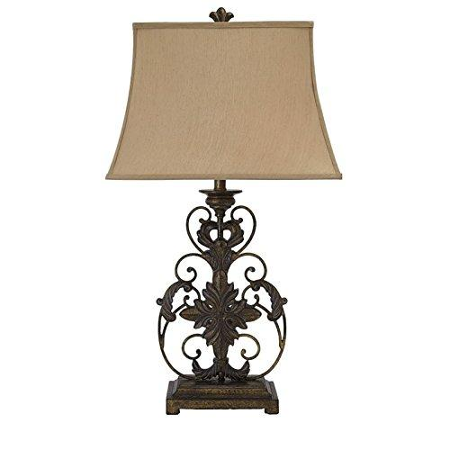 Ashley Vintage Time Wore Metal  Romantic Scrolling Soft Crackle Gold Finish lamp Fabric Shade