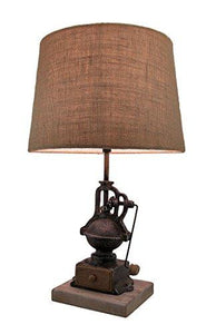 Elegant Aged Antique Black Hand Painted Finish Vintage Coffee Grinder Lamp w/Burlap Fabric Shade