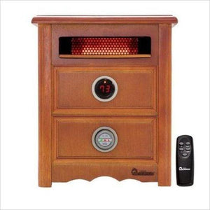 Advanced Dual Heating System with Nightstand Design, Furniture-Grade Cabinet, Remote Control