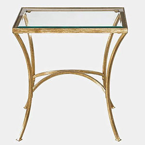 Arched Iron Base End Table - High-Style Design End Table with Glass Top - Gold