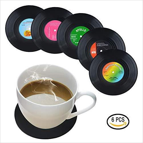 Set of 6 Vinyl Record Coasters