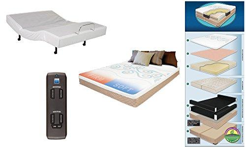 Adjustable Wireless Remote Bed Frame Base Zero Gravity and Dual Massage Electric Frame Bundle with Premium Dual Adjustable Digital Sleep Air Bed System Airbed Mattress Noveau Air QUEEN Size